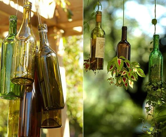bastelideen mit weinflaschen als beispiel für kreative DIY Gartendeko und DIY-Höngeblumentlpfe aus glas