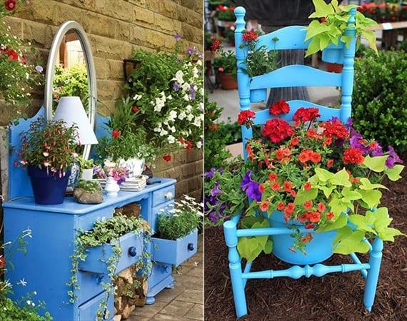 kreative gartengestaltung in blau mit holzkommode und holzstuhl für eigene gartenschau
