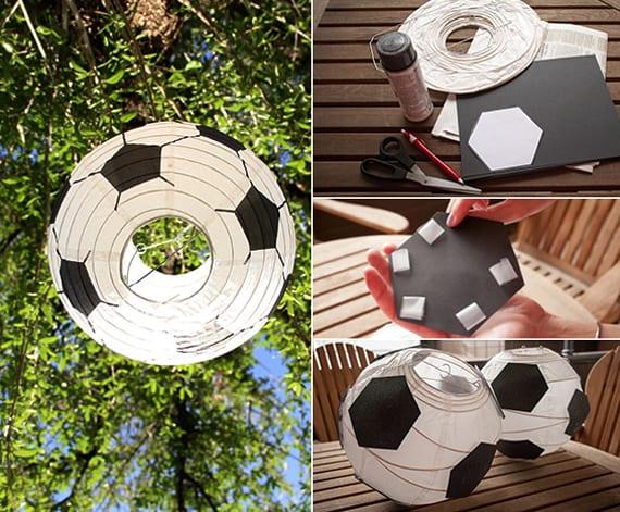 bastelidee für DIY Fußball-laterne aus papier