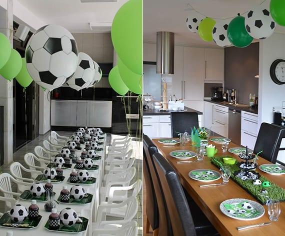 ideen für dekoration mit fußball-motiv