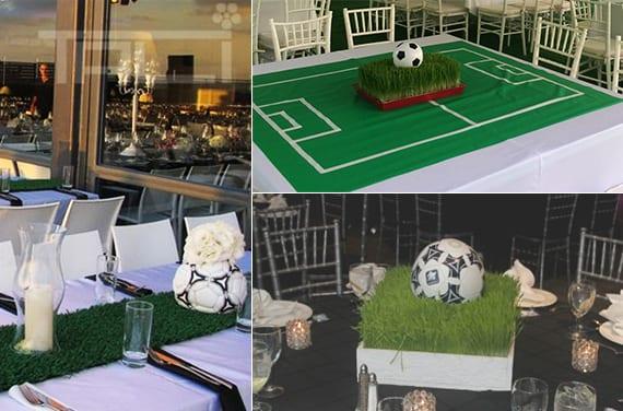 fußball tischdeko ideen mit Gras oder Blumen