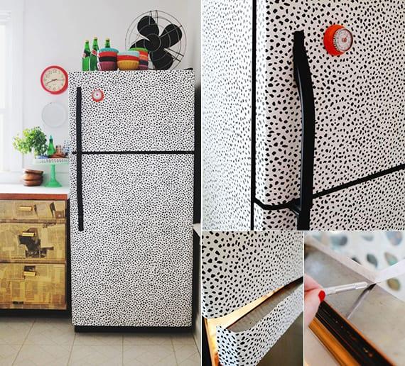 kleine küche im retrostil gestalten und weißer kühlschrank mit klebefolie verkleiden