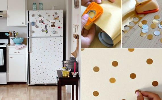 coole ideen für küchenausstattung mit diy retro kühlschrank_alter weißer kühlschrank mit goldenen punkten neu gestalten