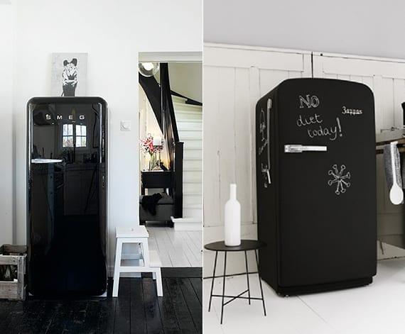 retro kühlschrank in schwarz für vintage küchengestaltung mit holzfußboden in schwarz oder weiß