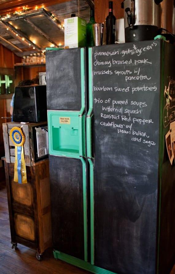 ideen für küche renovieren und alter kühlschrank in kreidetafel verwandeln
