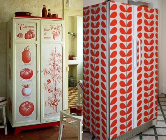 küche ausstatten mit retro kühlschrank_ideen für farbgestaltung küche in weiß und rot