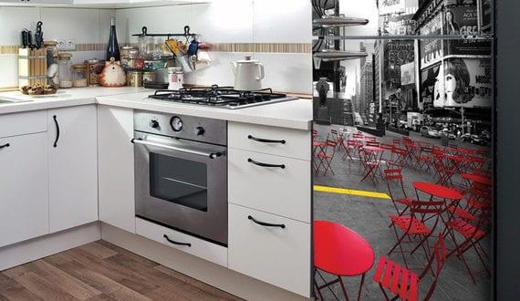die k che mit retro k hlschrank ausstatten die k che. Black Bedroom Furniture Sets. Home Design Ideas