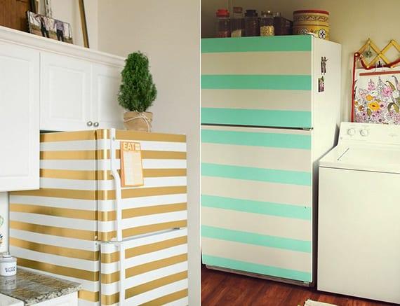 die küche in weiß mit diy retro kühlschrank in streifenmuster
