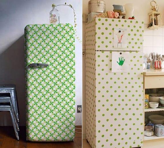 coole bastelideen für DIY Retro Kühlschrank_ der weiße kühlschrank neu gestalten mit grünen punkten oder klebefolie mit grünem muster