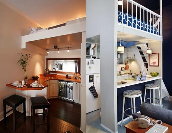 kleine loftbett wohnung mit kleiner wohnküche_inspirationen und bilder für kleine küche mit Bar unter dem schlafbereich