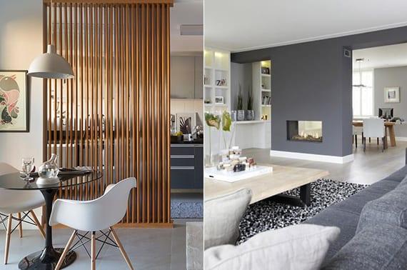 wohnküche vom wohnzimmer trennen mittels trennwand mit kamin oder holzlatten_coole raumgestaltung und einrichtungsideen für einraumwohnung