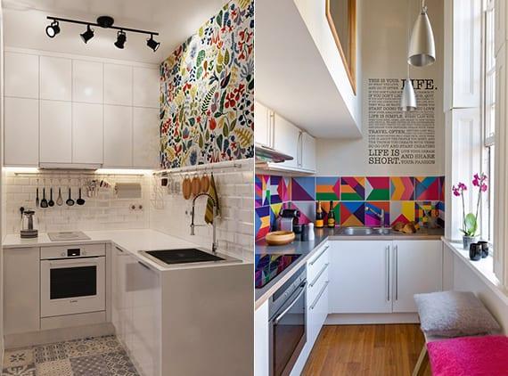 kleine wohnküche in weiß kreativ gestalten mit küchenrückwand aus weißen ziegelfliesen oder bunten wandfliesen_kreative küchengestaltung und farbgestaltung weißer eckküchen