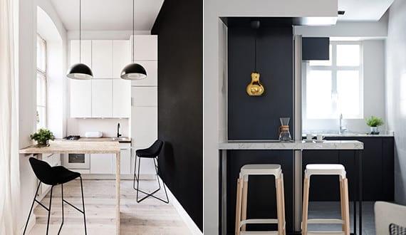 Die komfortable wohnk che in der kleinen wohnung mit - Wandfarbe schwarz ...