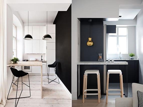 modernes küche design und coole beispiele für kleine küche mit bar und pendellampen, schwarze wandfarbe oder küchenschränken und designer barhocker