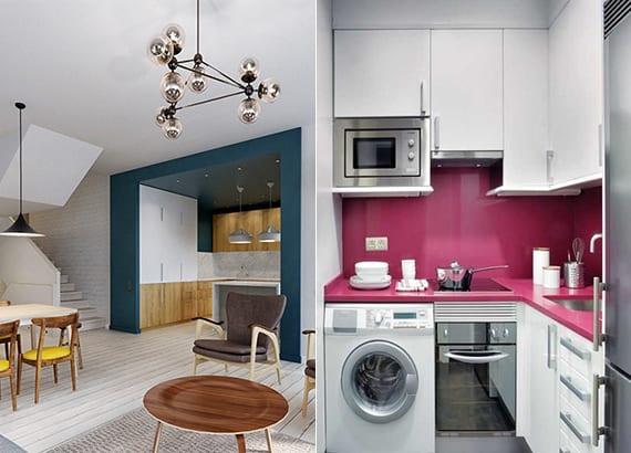farbgestaltung ideen für wohnküchen im wohnzimmer und toole farbkombination weißer küche mit wandfarbe blau und küchenrückwand pink
