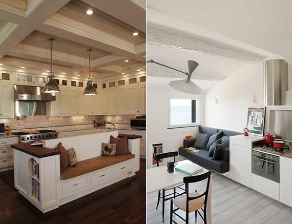 wohnküche mit sofa einrichten_coole platzsparende ideen für kleine küche in kleiner wohnung