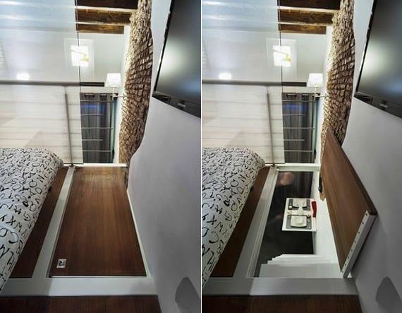 kleine wohnung inspiration mit loftbett-schlafbereich, sofabett, sichtschutzwand aus milchglas und falltür