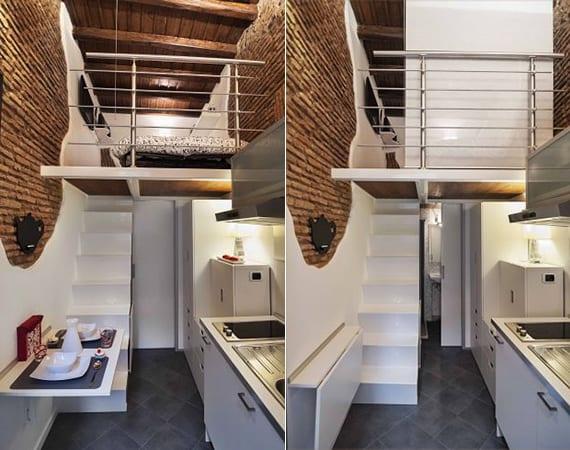 kleine wohnung mit loft-bett und weiße küche mit klapptisch_kreative raumgestaltung mit ziegeln, weißer innentreppe und holzdecke