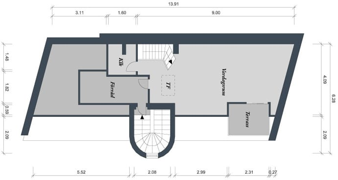grundriß einer dachwohnung mit dachterrasse in göteborg als inspiration für maximale flächennutzung einer zweigeschoßigen wohnung