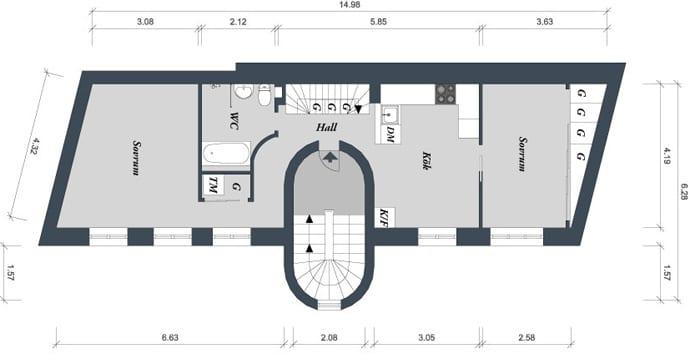 grundriss von dachwohnung in göteborg_idee für optimale raumeinteilung einer engen und länglichen maisinette