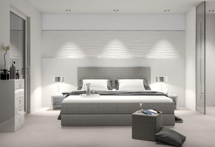 schlafzimmer ideen für moderne einrichtung mit boxspringbett grau und wandgestaltung mit 3d Wandpaneelen und deckeneinbauleuchten über dem bett