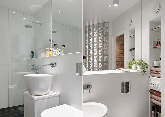 modernes badezimmer in maisonette mit dusche hinter glasscheibe und kleinem waschtisch weiß mit waschbecken rund