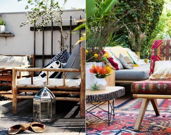 garten- und terrassengestaltung im boho stil mit bambusmöbel, laterne und diy beistelltisch aus Holzscheibe