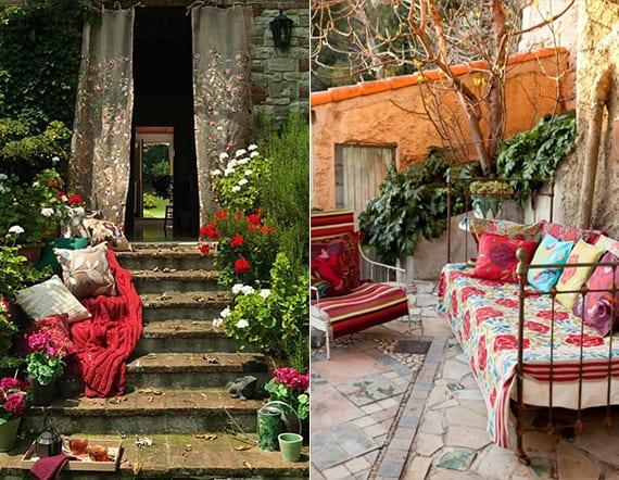 inspirationen für bohemian interior im garten mit roten Dekokissen und Decke