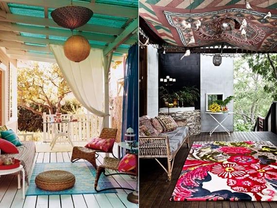 holzterrasse gestalten mit textilien im boho stil_gemusterte stofe für deckengestaltung, gardienen und teppiche mit muster in leuchtenden farben