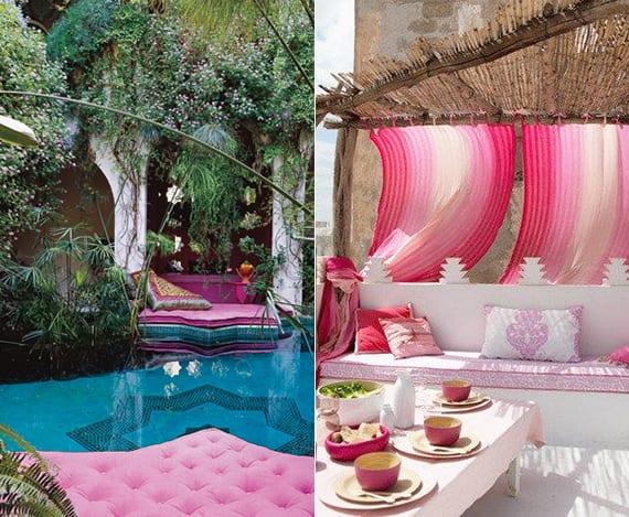 terrasse und garten ideen im bohemian style mit rosafarbigen polstern am pool und weiße sitzecke mit gardienen und DIY Holzüberdachung