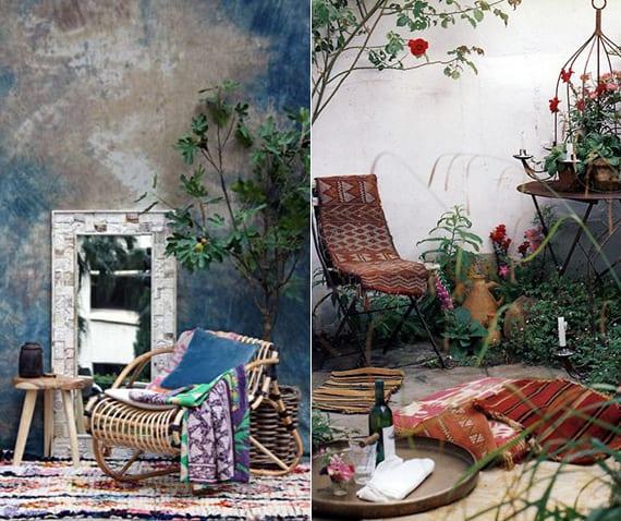 bohemian Interieur für garten mit blauer Wandfarbe und Spiegelmit weißem Spiegelrahmen oder rote vorleger und rundes Serviertablett aus holz als gartendeko idee