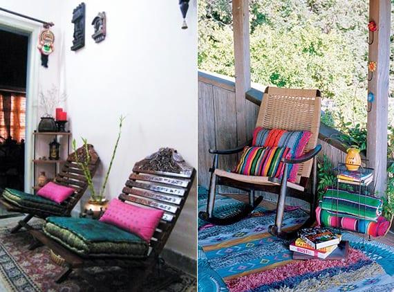 idee für terrassengestaltung im boho style mit holzstühlen und textilwaren in blau und ponk