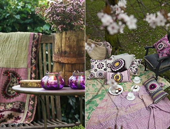 coole gartengestaltung im bohemian style mit lilafarbihgen decken und kerzenhaltern aus glas
