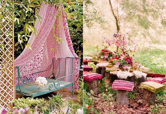 kreative gartengestaltung und gartendeko im boho stil mit SItzecke aus Baumstumpfen mit Sitzkissen oder Vintage-Möbel mit baldachin