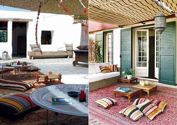 terrassengestaltung in boho style mit Sonnensegel und niedrigen Kaffeetischen aus holz und metal auf Orientteppich