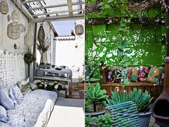 terrasse gestalten in weiß mit weiden-gartenlaternen, sitzecke mit hellblauen kissen und orientalischen Dekoration oder coole garten dekoideen mit kissen
