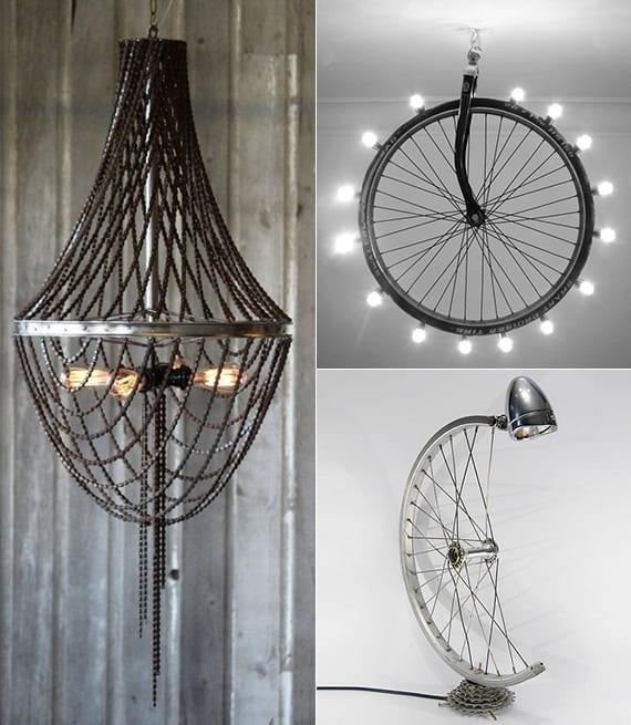 moderne und kreative lampe selber bauen als idee für upcycling alter fahrradfelgen