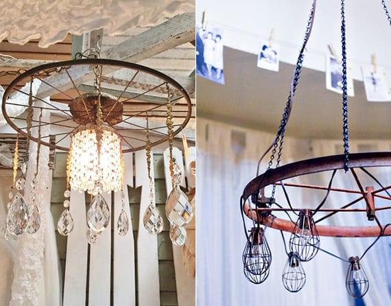 vintage lampe selber bauen aus fahrradfelge und kristalien