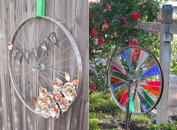 deko im garten selber machen aus fahrradfelgen_alte fahrradfelgen kreativ verwerten