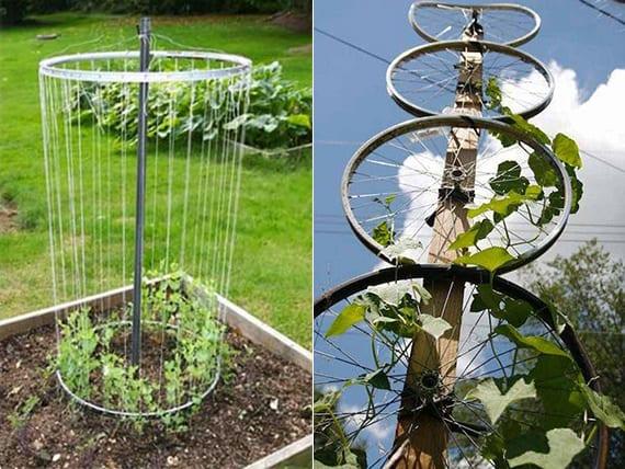 recycling idee für gartengestaltung mit kletterpflanzen und fahrradfelgen