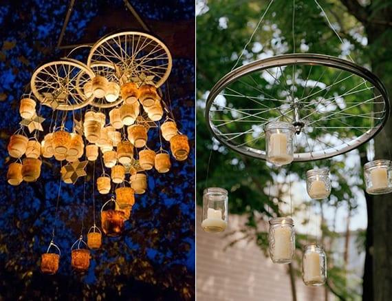 diy hänge-kerzenhalter aus fahrradfelgen und glasteelichtern als kreative idee für romantische gartengestaltung