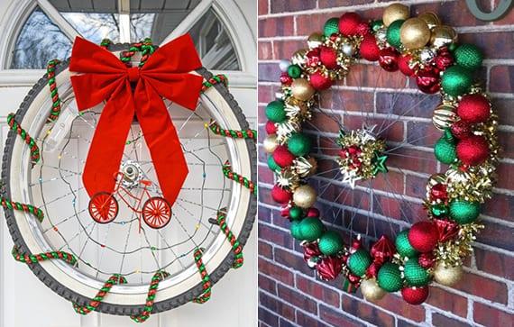 tür dekorieren zum weihnachten mit diy weihnachtskranz aus fahrradfelgen oder fahrradrädern