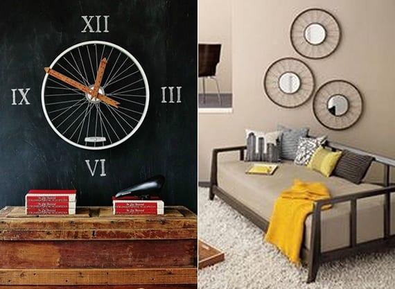 wohnzimmer modern gestalten mit DIY Wanduhr und runden spiegeln_alte fahrradfelgen kreativ verwerten
