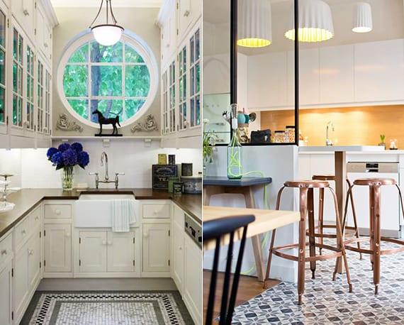 einrichtungstipps für optische raumvergrößerung kleiner Küchen durch rundem Fenster und Spiegel-Schranktüren