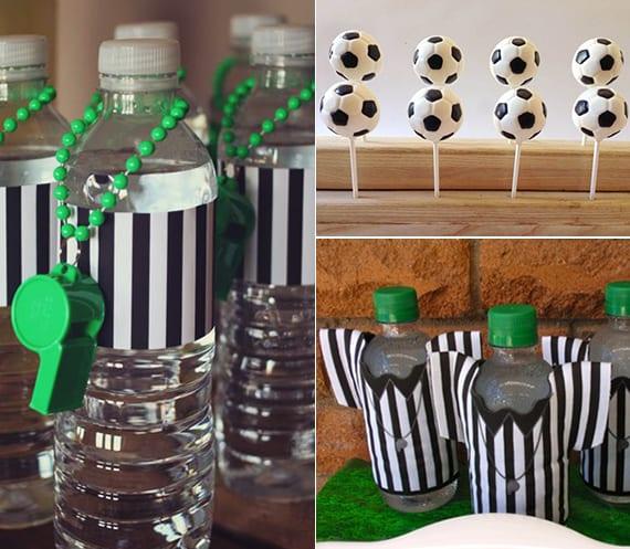 coole idee für Kinder-fußballpartys und kreative bastelidee für Schiedsrichter-Flaschen mit papier und pfeifen