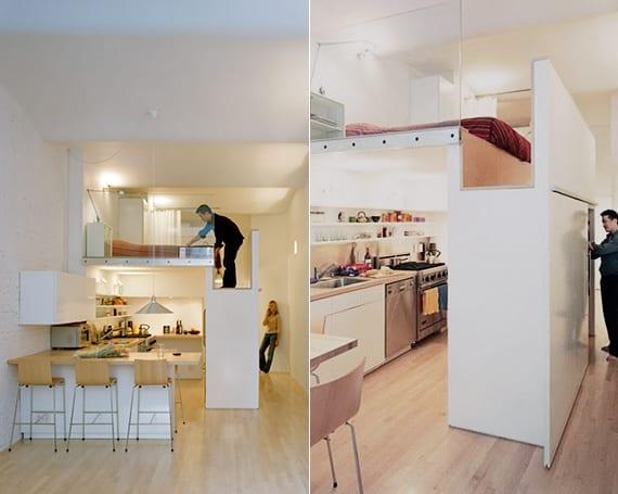 coole loft wohnung ideen und wohnküche insüiration mit Eck-Arbeitsplatte und Raumteilung durch kleiderschrank
