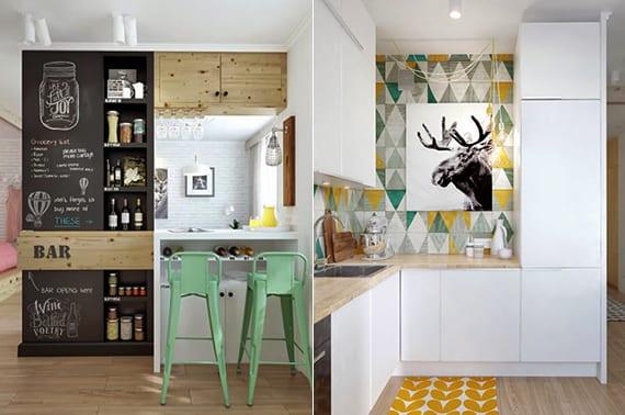 moderne wohküche in kleiner wohnung kreativ gestalten mit schwarzer Trennwand mit wandnischen und mit wandfliesen in gelb und grün
