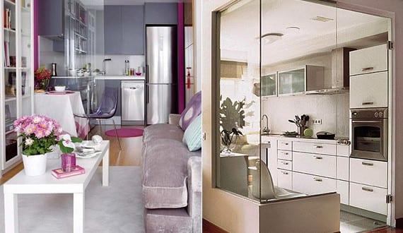 komfortable wohnk che in kleiner wohnung kleine k che im wohnzimmer mittels glaswand trennen. Black Bedroom Furniture Sets. Home Design Ideas