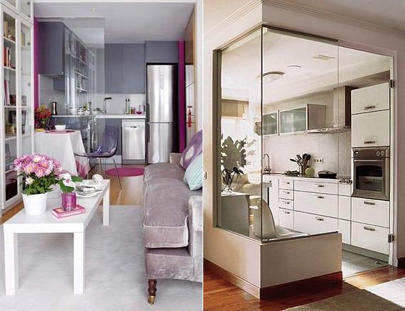 kleine wohnung kreativ einrichten mit eckküche in lila oder mit wohnküche weiß_ideen und bilder für kleine küchen und kleine wohnzimmer mit küche