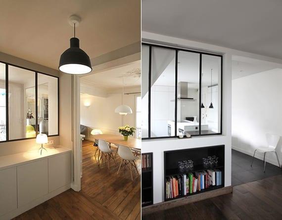kleine wohnung modern einrichten mit wohnküche hinter trennwand aus glas_ideen für trennwände mit verglasung und einbauregalen